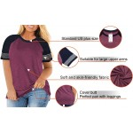 AURISSY Plus-Size Tops for Women Long Sleeve Striped Color Block Shirts at Women's Clothing store