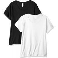 Clementine Apparel Women's Plus Ladies Curvy Premium Crew-Neck T-Shirt 2 Pack at  Women's Clothing store