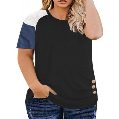 DOLNINE Womens Plus-Size Tops Summer Short Sleeve Color Block Shirts Buttons Tee at  Women's Clothing store