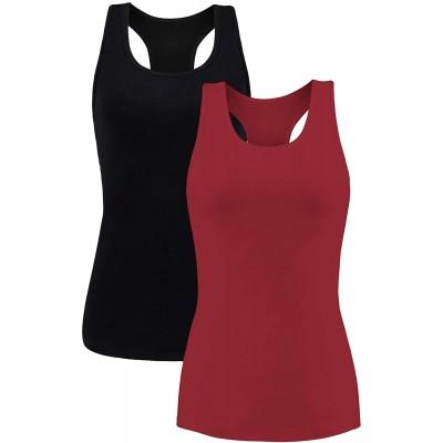 beautyin Women Tank Top with Shelf Bra Racerback Workout Yoga Tops Undershirt at  Women's Clothing store