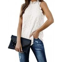 Berryou Women Lace Crochet Hollow Out Tank Tops Casual Blouse Summer Sleeveless Shirts Clubwear 2021
