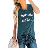 FLOYU Letter Print Tank Top for Women Hakuna Matata Casual Sleeveless Muscle Vest Tops with Funny Sayings at  Women's Clothing store