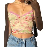 Meladyan Women's Lace Patchwork V Neck Camisole Ribbed Spaghetti Strap Crop Cami Tank Tops at Women's Clothing store