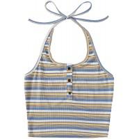 SweatyRocks Women's Casual Sleeveless Vest Halter Crop Top Cami Tank Tops at  Women's Clothing store