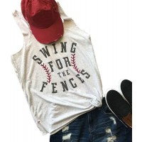 Swing for The Fences Racerback Tank Top Baseball Graphic Printed Tee Women Summer Vest Sleeveless Casual T Shirt at  Women's Clothing store
