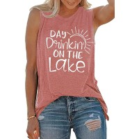 Womens Day Drinkin' On The Lake Tank Tops Lake Life Summer Vacation Funny Vest Tees at  Women's Clothing store