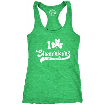 Womens I Clover Shenanigans Tank Top Funny Shirt for Saint Patricks Day St Patty at  Women's Clothing store