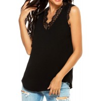 Womens Summer Tops Lace Blouse Camisole for Women Sleeveless V Neck Tank top Casual Flowy Loose Cami Shirts at  Women's Clothing store