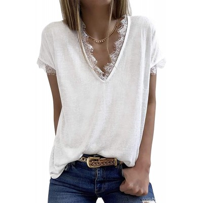 Womens V Neck Lace Tank Tops Summer Short Sleeve Loose Casual Shirts at  Women's Clothing store