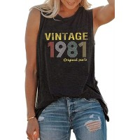 40th Birthday Gift T Shirt for Women Funny Vintage 1981 Original Parts T-Shirt Tees Retro 40 Years Old Gift Shirt at  Women's Clothing store