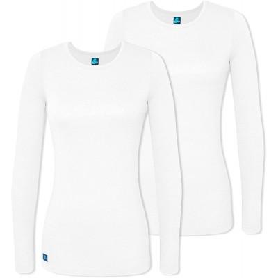 Adar Underscrubs for Women 2 Pack - Long Sleeve Underscrub Comfort Tee at Women's Clothing store