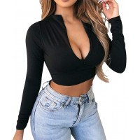 Artfish Women's Long Sleeve Quarter Zip Crop Tops Fleece Lined V Neck Fitted Sexy Cropped Shirts at  Women's Clothing store