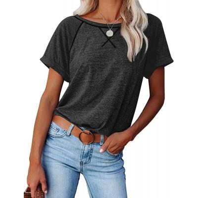 GOKAKIE Short Sleeve Shirts for Women - Crewneck T Shirt Summer Tops Loose Casual Basic Tee at Women's Clothing store