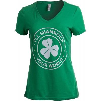 I'll Shamrock Your World | Funny St Pat's Paddy Patrick V-Neck T-Shirt for Women