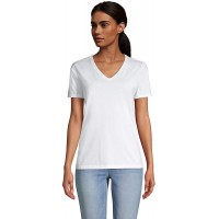 Lands' End Women's Relaxed Supima Cotton Short Sleeve V-Neck T-Shirt at  Women's Clothing store