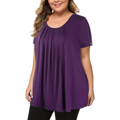 MANER Women's Plus Size Tops Short Sleeve Flowy Shirts Casual Blouses Tunic Tops L-4XL at  Women's Clothing store