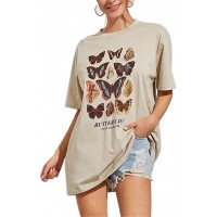 Meladyan Women's Butterfly Printed Graphic Loose Tee Short Sleeve Round Neck Loose Tshirt Tops at  Women's Clothing store