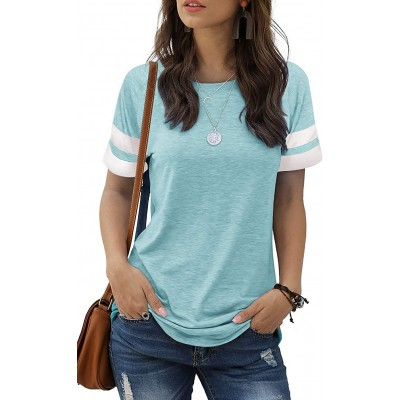 MIDOVAN Womens Summer Tops and Blouses Casual Crewneck Color Block Short Sleeve Shirts Basic Tee Loose T Shirts at Women's Clothing store