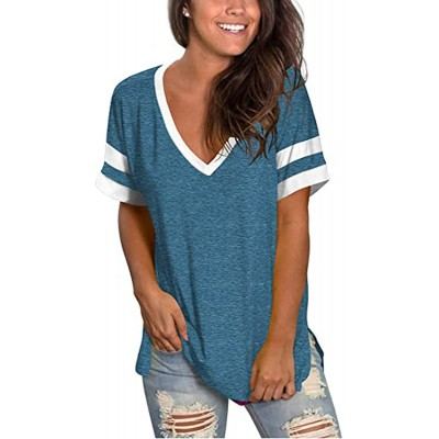 MOPOOGOSS Womens V Neck Short Sleeve T Shirts Color Block Casual Loose Fit Tunic Tops Blouse at  Women's Clothing store