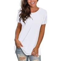 NSQTBA Womens T Shirts Short Sleeve Crewneck Tees Plain Workout Tops Loose Fit