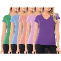 Sexy Basics Women's Multi Pack Casual & Active Cotton Stretch V Neck Short Sleeve Color T Shirts at  Women's Clothing store