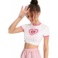SheIn Women's Heart Print Crop Top Casual Short Sleeve Graphic Ringer T-Shirts at  Women's Clothing store