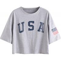 SweatyRocks Women's Letter Print Crop Tops Summer Short Sleeve T-Shirt at  Women's Clothing store