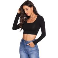 Verdusa Women's Scoop Neck Long Sleeve Crop Tee Top at  Women's Clothing store