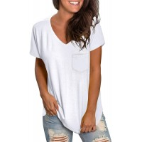 WEESO Women's V Neck Short Sleeve T Shirts with Pocket Drop Tail Hem Relaxed Fit Tees