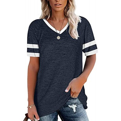 Women's Comfy Tee T-Shirt Casual Short Fashion Short Sleeve Loose Neck Top at Women's Clothing store