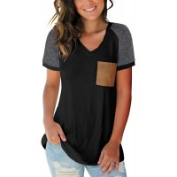 Womens Summer Basic Short Sleeve V Neck Color Block Casual Tops T Shirts with Pocket at  Women's Clothing store