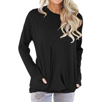 Amstt Women Pocket Shirts Casual Soft Sweatshirt Loose Fit Tunic Top Baggy Comfy Blouses at  Women's Clothing store