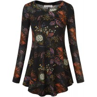 BAISHENGGT Women's Printed Long Sleeve Casual Swing Flare Tunic Blouse Shirt at  Women's Clothing store