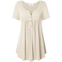 Ca Kra Tunics for Women Short Sleeve Tunic Tops Henley Shirts for Leggings at  Women's Clothing store