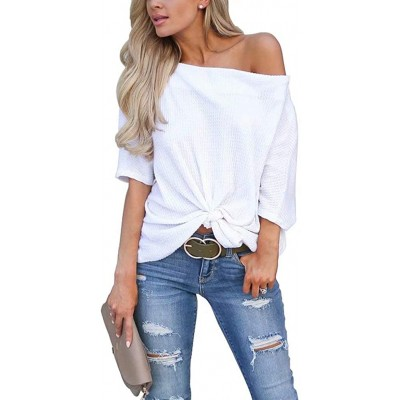 EZBELLE Womens Short Sleeve Off The Shoulder Tops Twist Knot T Shirt Tunic Blouse at Women's Clothing store