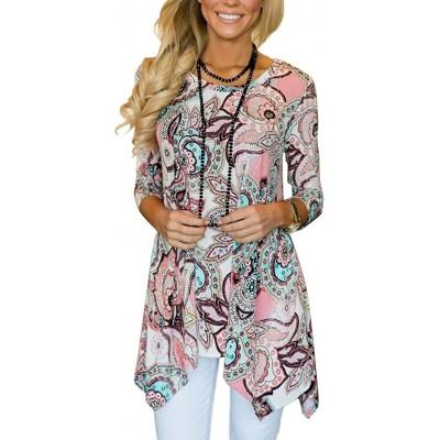 MIROL Women's Spring Floral Print 3 4 Sleeve Irregular Hem Asymmetrical Tunic Loose Long Blouse Tops at Women's Clothing store