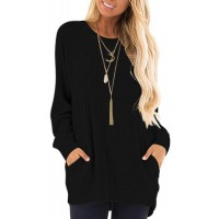 MISFAY Womens Casual Long Sleeve Round Neck Pocket T Shirts Blouses Tunic Sweatshirt Tops with Pocket at  Women's Clothing store