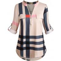 Moyabo Women's 3 4 Cuffed Sleeve Zipped V Neck Plaid Tunic Shirt Blouses