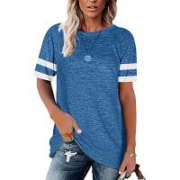 TOPIA STAR 2021 Womens Crewneck Sweatshirts Color Block Short Sleeve T-Shirt Tunic Tops at  Women's Clothing store