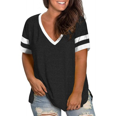 VISLILY Womens Plus-Size Tops V Neck Summer T Shirts Striped Short Sleeve Tunic at  Women's Clothing store