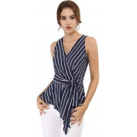 Allegra K Women's Sleeveless V Neck Tie Waist Asymmetric Hem Wrap Peplum Top at  Women's Clothing store