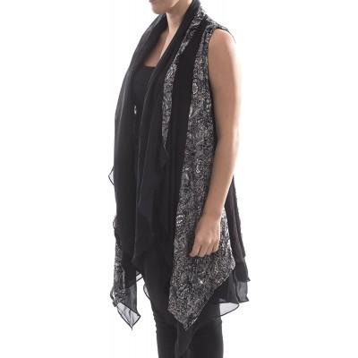 Aris. A Lightweight Silk Blend Velvet Long Drape Vest at Women's Clothing store