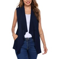 Beyove Womens Sleeveless Cardigan Vests with Side Pockets Ruffle Tirm Draped Lightweight Lapel Open Front Vest S-XXL at  Women's Clothing store