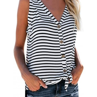 Ritatte Women's Fashion V-Neck Tie Knot Button Down Shirts Stripe Sexy Vest Casual Sleeveless Top at Women's Clothing store