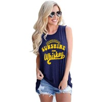 Women Casual Sleeveless Letter Print Drinking Party Tops T-Shirt Summer Beach Vest Dark Grey at  Women's Clothing store