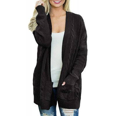 Arjungo Women's Oversized Open Front Long Sleeve Aran Cardigan Sweaters Cable Twist Knit Boyfriend Loose Outwear with Pockets at Women's Clothing store