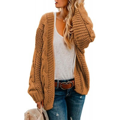 Astylish Women Open Front Long Sleeve Chunky Knit Cardigan Sweaters Loose Outwear Coat at Women's Clothing store