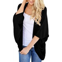 BB&KK Women's Lightweight Cotton Kimono Cardigans 3 4 Batwing Sleeve Solid Colors at  Women's Clothing store