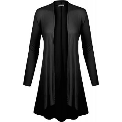 BIADANI Women Long Sleeve Classic Open Front Lightweight Duster Cardigan at Women's Clothing store
