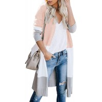 CARDYDONY Women's Long Cardigan Open Front Color Block Cardigan Knit Sweaters at  Women's Clothing store